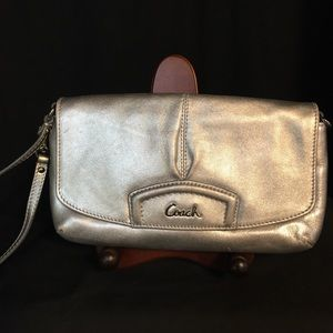 Coach Silver Leather Wristlet